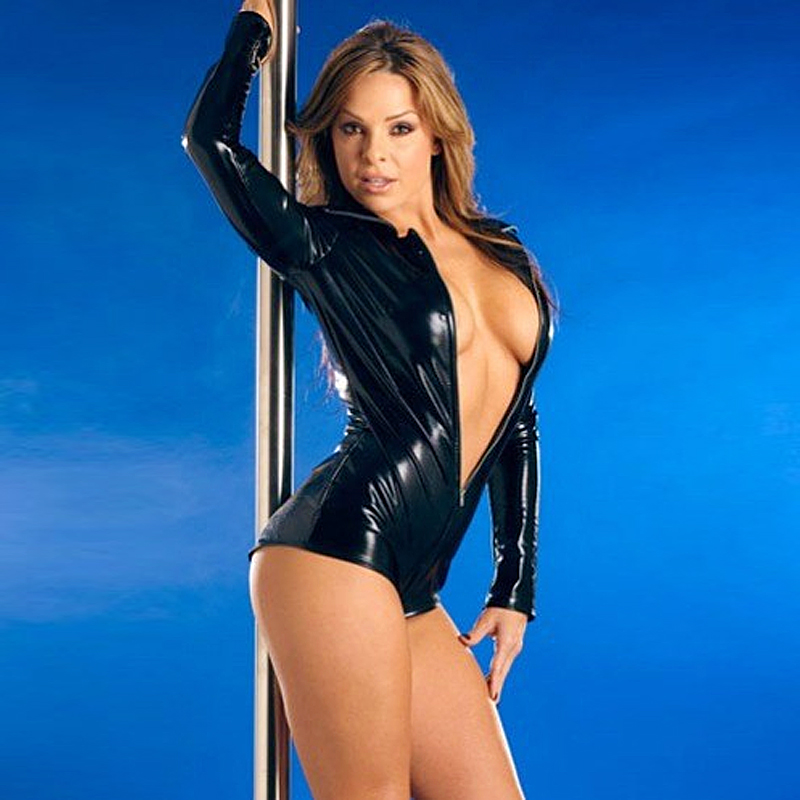 Buy Black Leather Lingerie Sexy Body Suits Women PVC Erotic Leotard Costumes Latex Bodysuit Catsuit 2017 women leather dresses