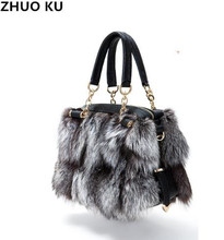 ZHUOKU 2017 New Women Silver Fox Fur Leather Messenger Bags Fashion Solid Female Flap Bags High