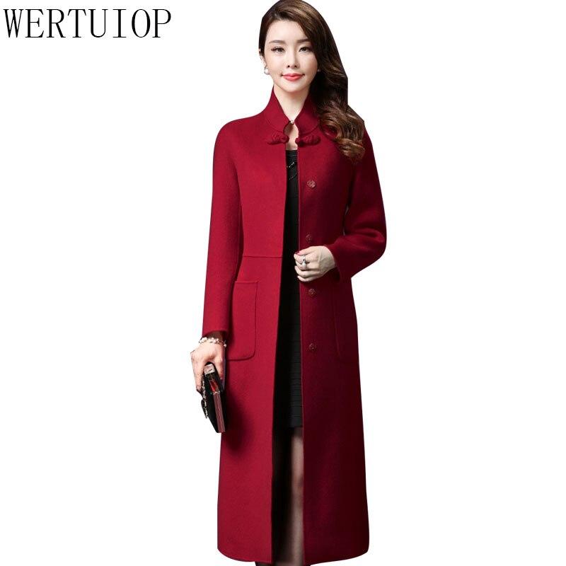 rouge 2019 Long Mode Femmes Survêtement Wertuiop Veste pourpre Plus Femme Taille De Noir Manteau Laine Lainages Nouveau Manteaux 3xl La Hfdd7qwB