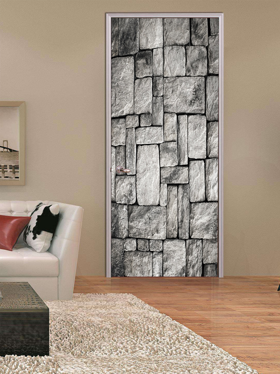 wohnzimmer wand poster : Funlife Ziegel Imitation 3d T R Aufkleber Selbstklebende Wand