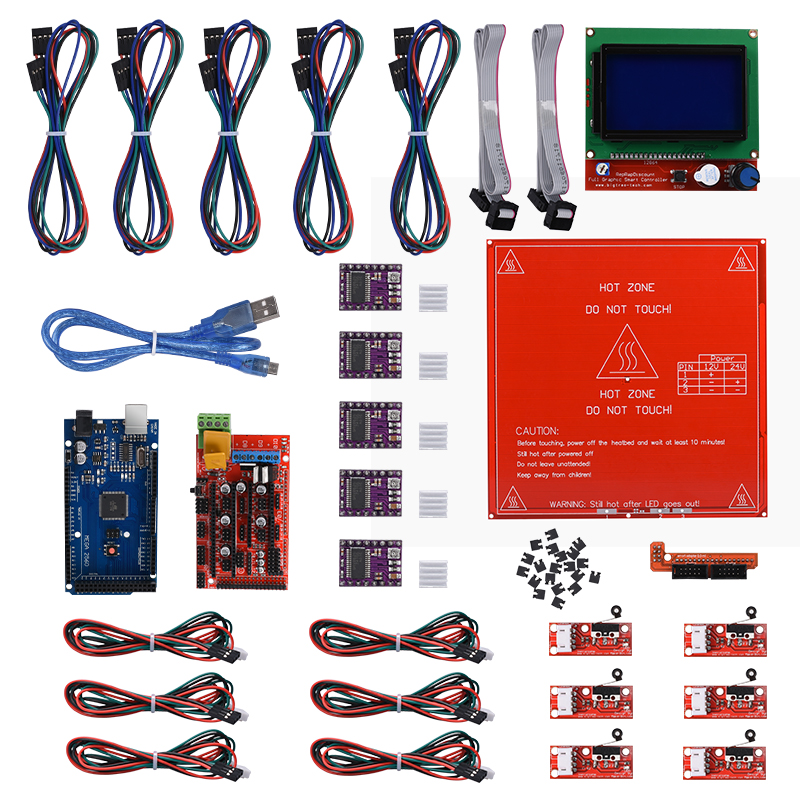 Kits de cartes d'imprimante 3d Reprap rampes 1.4 + Mega 2560 + Heatbed mk2b + 12864 contrôleur LCD + DRV8825 + butée finale mécanique + câbles