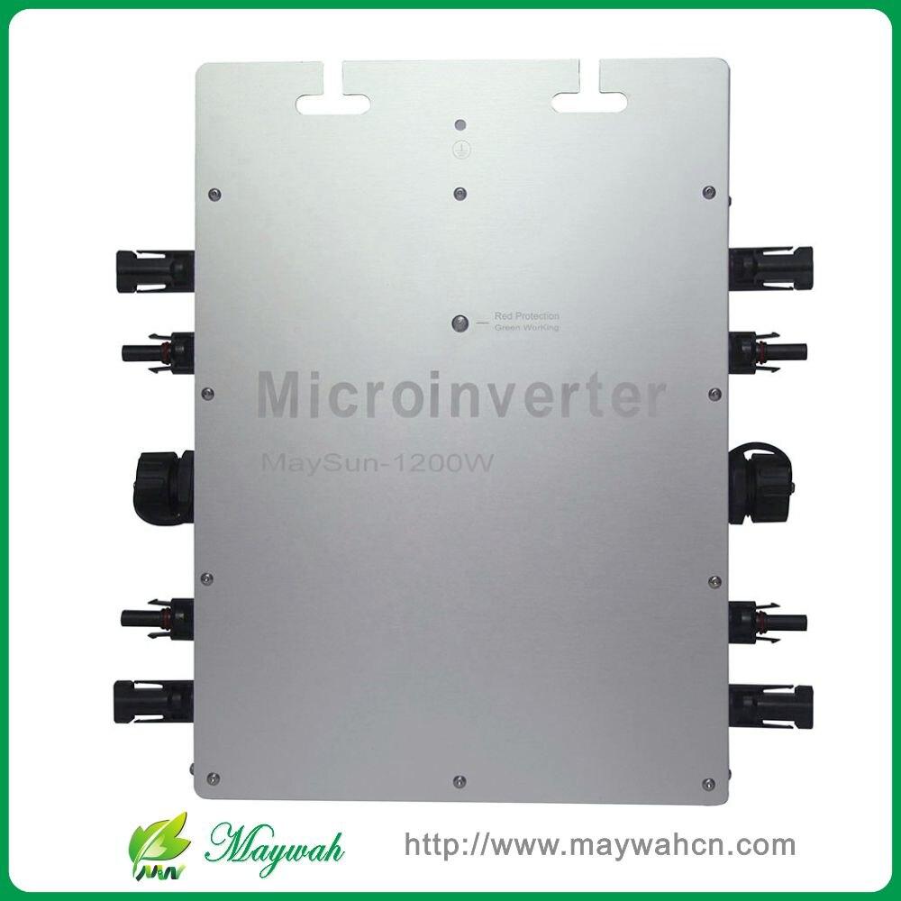 Waterproof!!! Maysun1200W 22-50VDC Solar on grid tie micro inverter with 4 MPPT Function Output 100V 110V 120V 220V 230V 240V