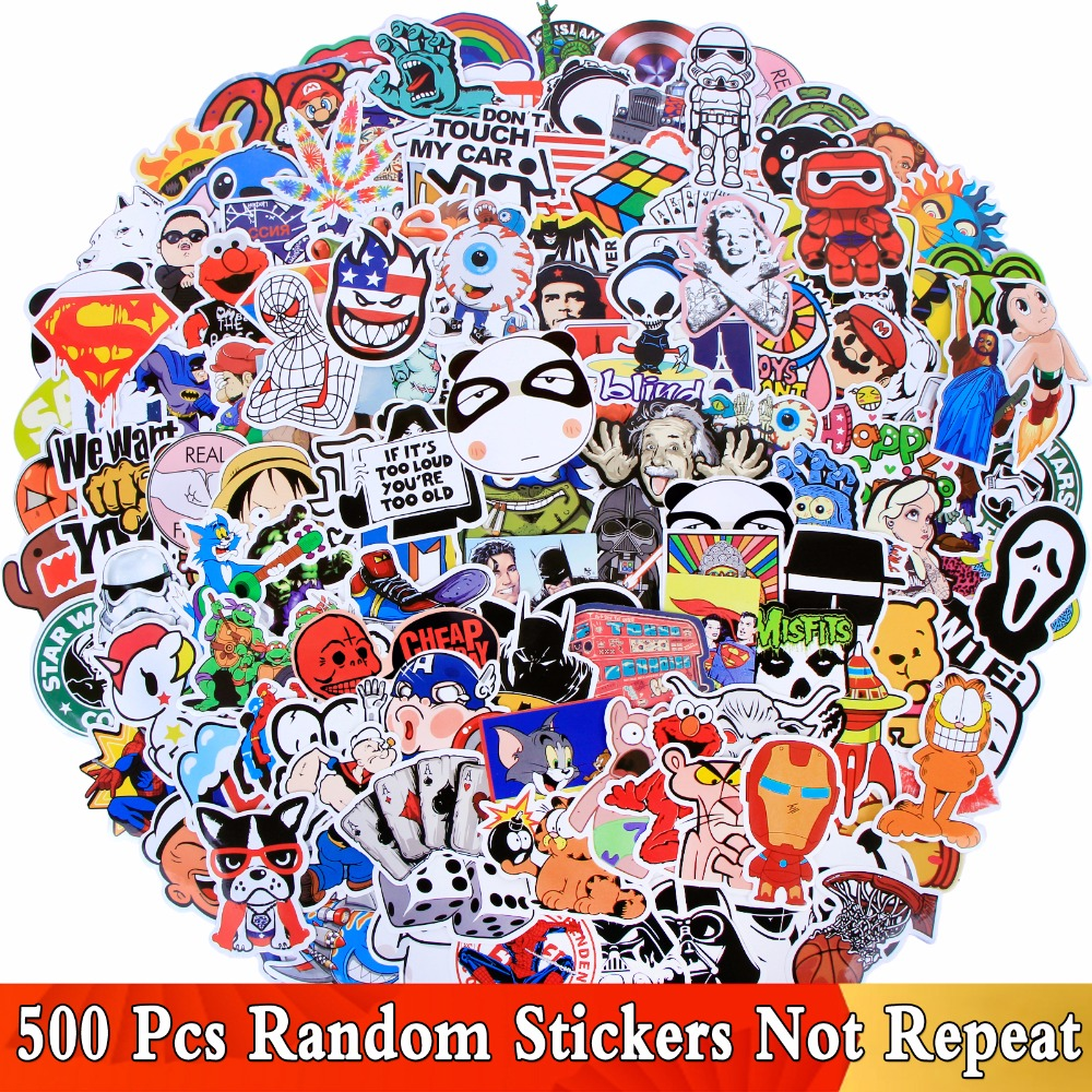 Random 500 PCS / Lot Mix Funny JDM Stickers For Car Laptop Kids Skateboard Motorcycle Furniture Decal DIY Toy Waterproof Sticker 50 pcs mixed funny hit stickers for kids home decor jdm on laptop sticker decal fridge skateboard doodle stickers toy stickers