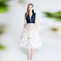 Floral Embroidered Tulle Skirt Romantic Boho Floral Pattern Lace Midi Skirts Womens Fashion Party Gowns Custom