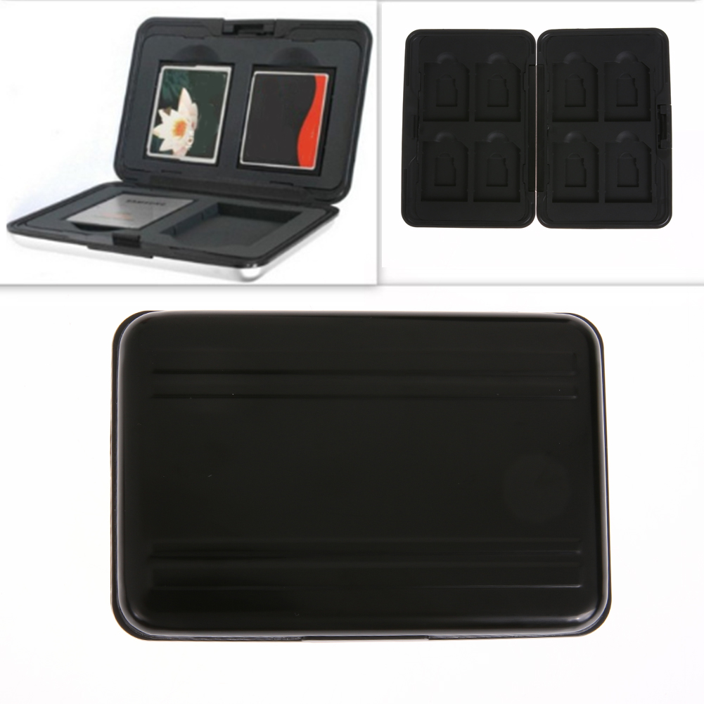 16 Slots Micro SD SDXC Storage Box Holder Memory Card Case Protector Aluminum Black Case For Eight SD/MMC Secure Digital Cards