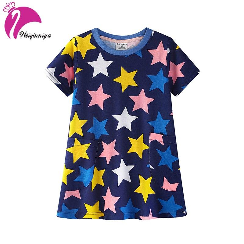 Girls Dress A-Line Print Girls Dresses Baby Girl Cartoon Pattern Dresses Summer Stars Cotton Dress For Children Costume For Kids