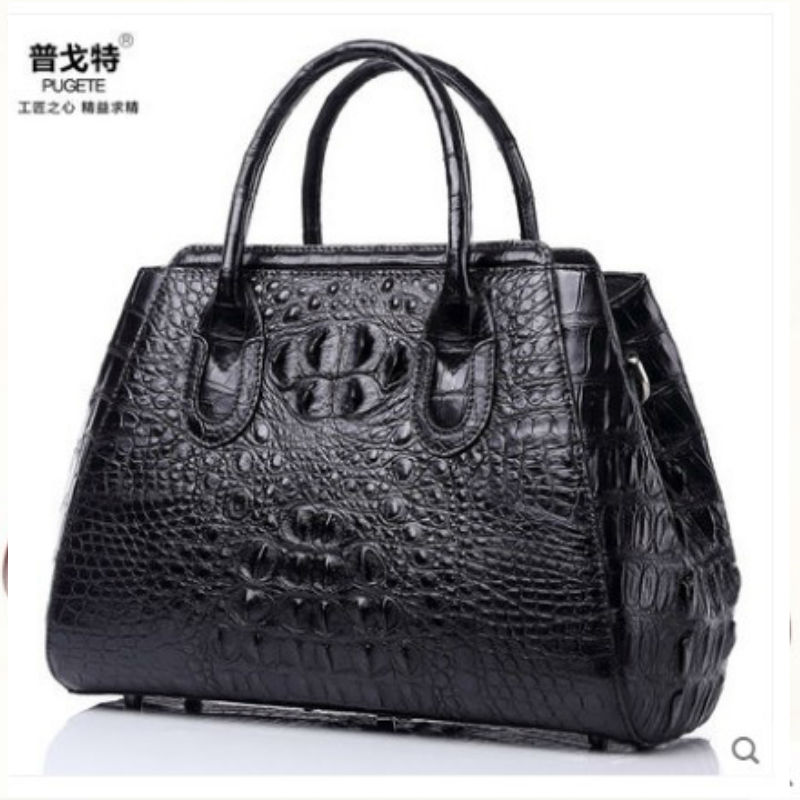 pugete Thai crocodile leather women bag 2017 new fashion single shoulder diagonal large package crocodile leather women bag 2018 new crocodile pattern female large bag the first layer of leather luxury women s rectangular shoulder bag diagonal package