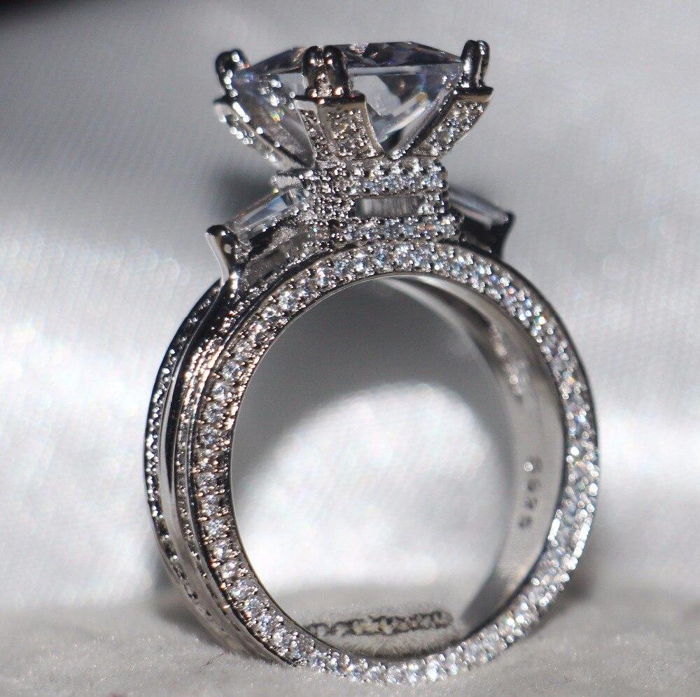 2017 Nouvelle Arrivée De Luxe Bijoux 308 pcs Blanc AAA CZ 925 Sterling Argent CZ pierres Tour Eiffel Femmes Bague De Mariage Size5-11