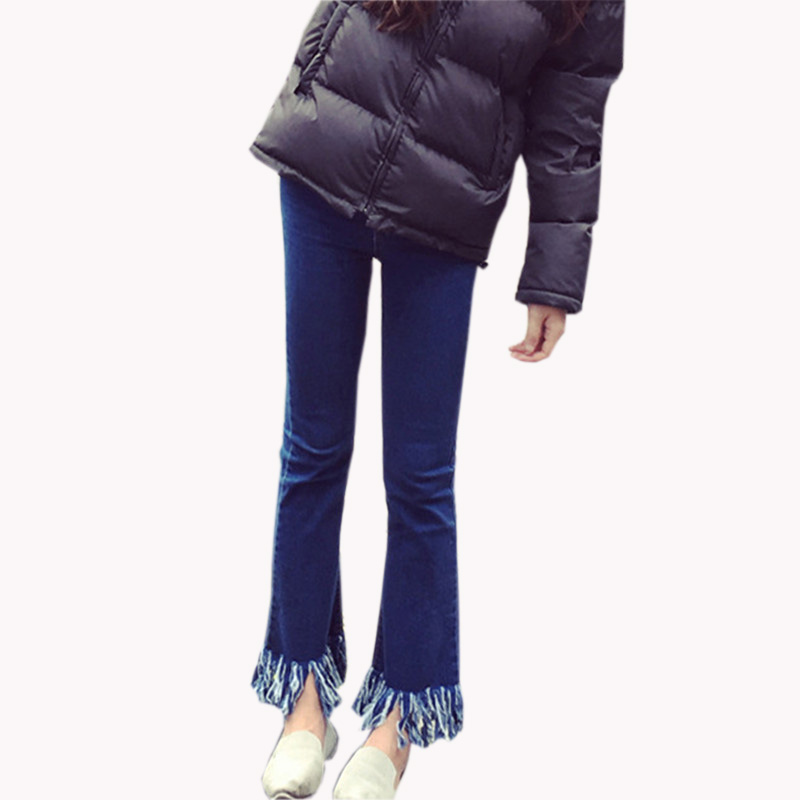 HziriP 2017 Hot Autumn Winter Women Slim High Waist Tassel Jeans Fashion Bell Bottom Trousers Flare Denim Casual Pants Pantalone women jeans autumn new fashion high waisted boyfriend street style roll up bottom casual denim long pants sp2096