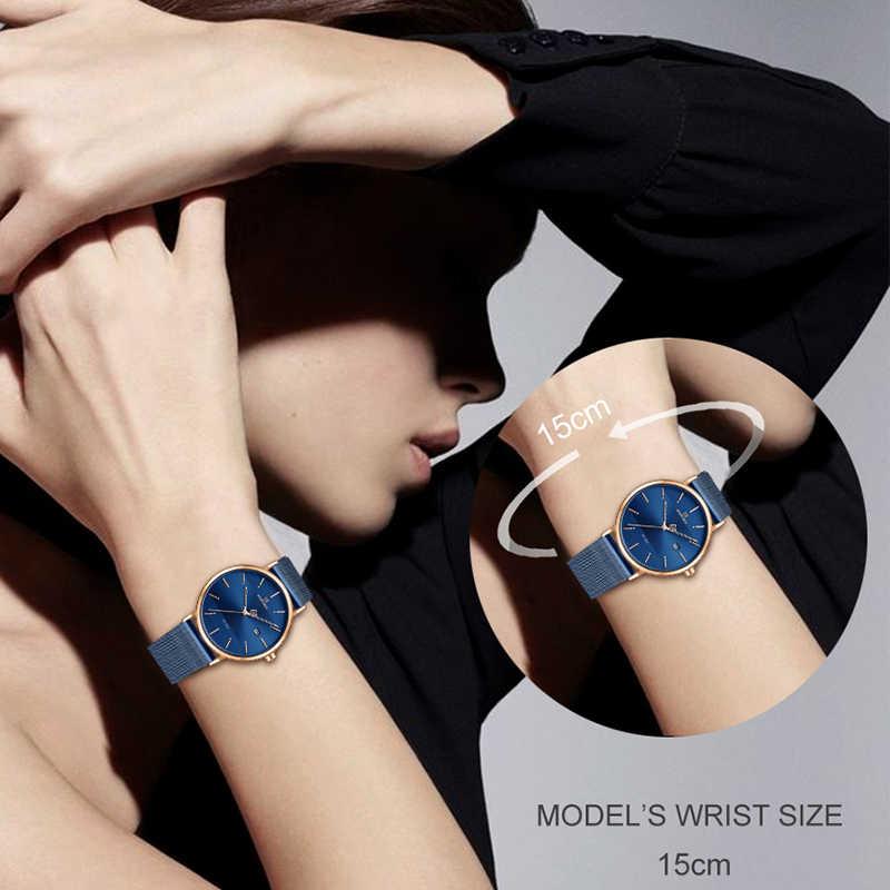 NAVIFORCE кварцевые часы женские роскошные брендовые из нержавеющей стали сетчатый ремешок наручные часы женские модные Reloj Mujer 2019 браслет в подарок