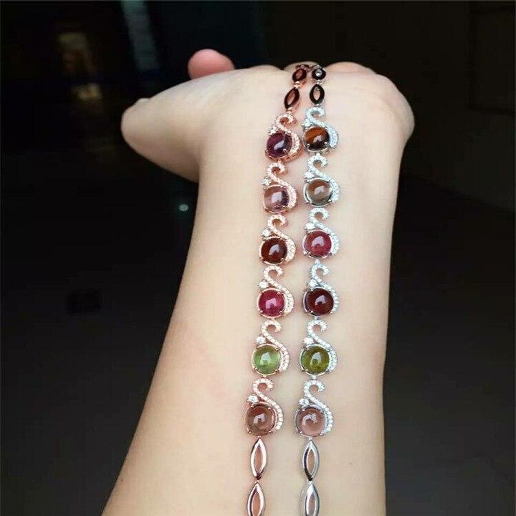 Kjjeaxcmy Fine Jewelry S925 чисто Серебряный браслет натуральный Голубая волна цветы 6 Gem женских украшений Бесплатная доставка.