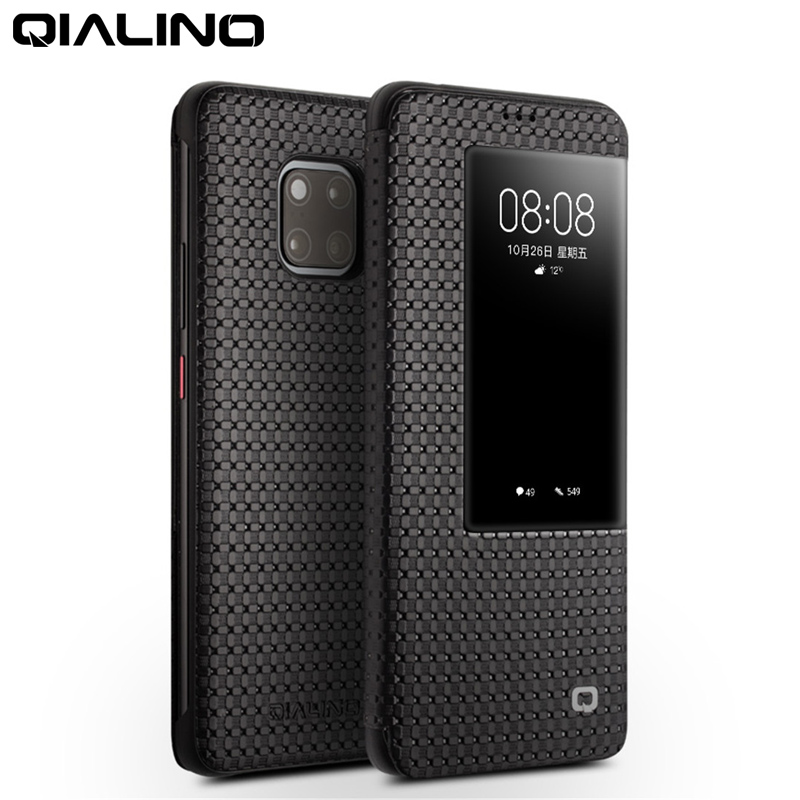 QIALINO Fashion Genuine Leather Flip Case For Huawei Mate 20 Stylish Business Ultra Slim Smart View Phone Cover For Mate20 Pro