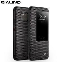 Qialino moda genuíno caso da aleta de couro para huawei companheiro 20 negócios à moda ultra fino smart view telefone capa para mate20 pro
