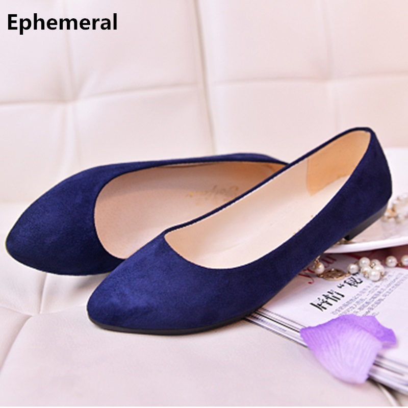 Lady's Big Sizes 33-47 Cute Flock Soft Comfortable Pointed Toe Flattie Driving Dancing Shoes For Wide Foot Navy Blue Black Blue
