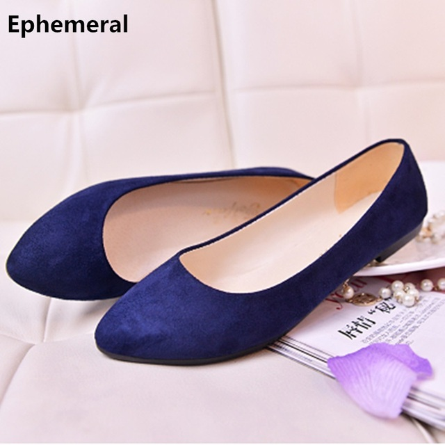 1989dad24156c Lady's big sizes 33-47 Cute flock soft comfortable pointed toe flattie  driving Dancing Shoes