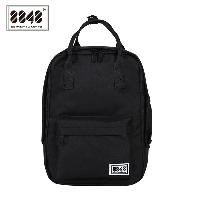 8848 Women Preppy School Bags For College Student Black Backpack Canvas Travel Bags Female Shoulder Backpack Mochila 003-008-015
