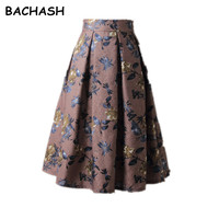 BACHASH Autumn Winter Women Vintage Blue Skirts Fashion 2017 Spring Casual Pleated Mid Clf Ball Gown