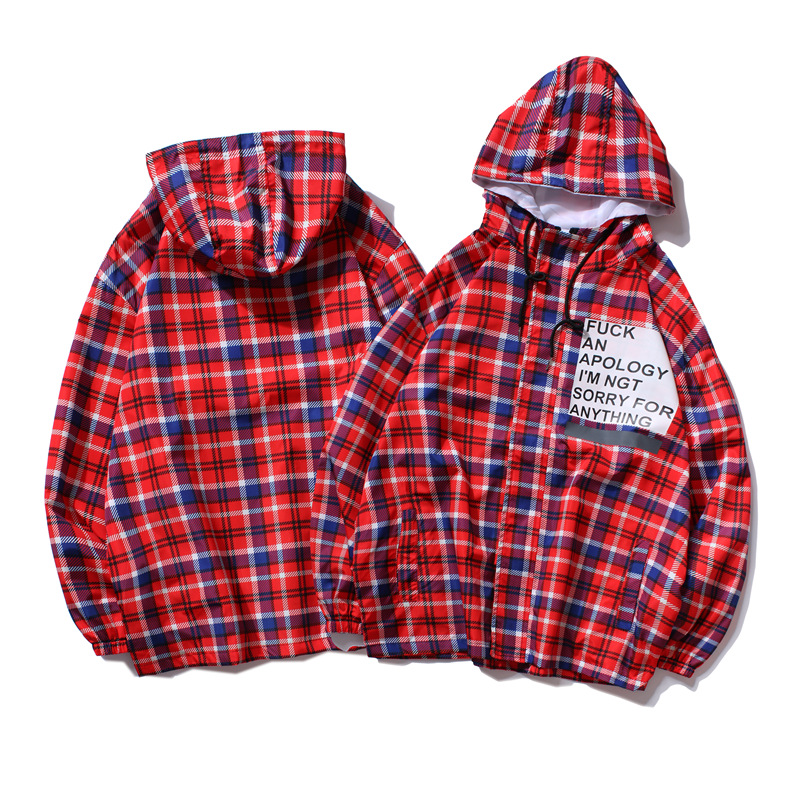 Autumn New Men Hip Hop Hooded Jacket Male Vintage Plaid Print Harajuku Tops Hoodie Streetwear Jackets Retro Style Women's Coat