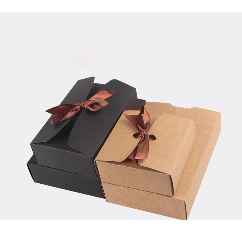 4 Size Black Brown Kraft Paper Boxes with Bowknot Baking Food Carton Box Cookies Mooncake Chocolate