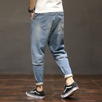 Summer thin section jeans young students male loose large size fat wild trousers feet stitching light pants