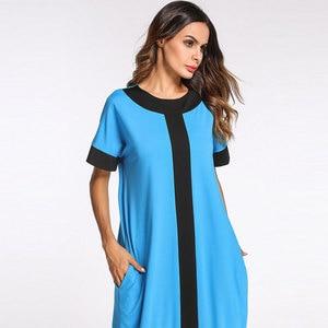 Image 2 - 2020 קיץ נשים שמלת גדול צבע בלוק קצר שרוול בתוספת גודל מוסלמי העבאיה תורכי קפטן דובאי מזדמן חלוק VKDR1162