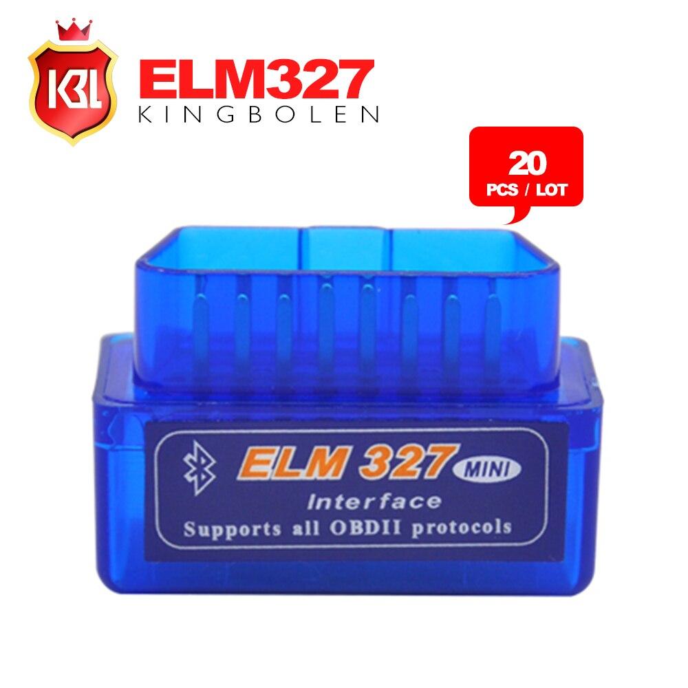Prix pour 20 PCS/LOT Livraison Gratuite Super Mini ELM327 Bluetooth OBD2 Outil De Diagnostic ELM 327 V2.1 Dernière Version