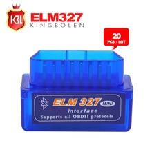 20 sztuk/partia darmowa wysyłka Super Mini ELM327 Bluetooth OBD2 narzędzie diagnostyczne ELM 327 V2.1 najnowszej wersji