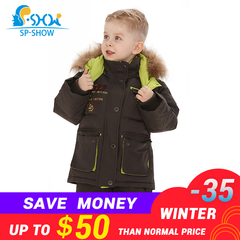 SP-SHOW Brand Winter Kids Suit Hooded Two Piece Children Jacket Girls and Boys Jacket For Down & Parkas 033 autumn and winter wear new suit children sweater hooded culottes two piece suit for girls