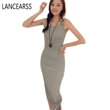2016 New Summer Boho Beach Sleeveless Bottoming Bodycon Dress Women's Long Cotton Vest Dresses Candy Color Solid Mid-Calf Hot