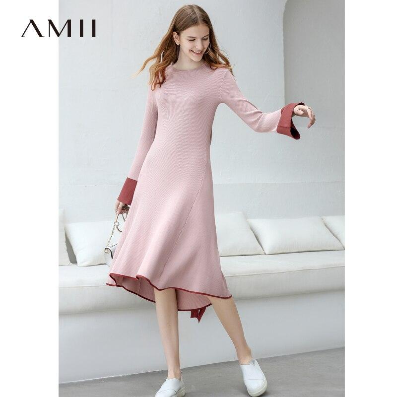 41b9aa6da6 Amii Women Minimalist 2018 Autumn Dress Elegant Chic Waist Hollowed Knitted  Contrast Color Female Dresses