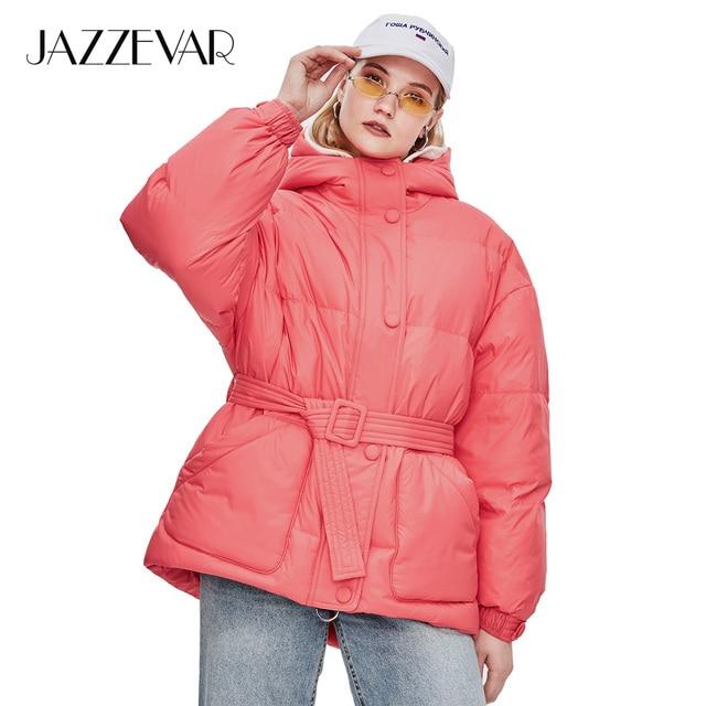 JAZZEVAR 2018 Winter New High Fashion Street Designer Brand Womens 90% Duck Down Jacket Pretty Girls Outerwear Coat With Belt