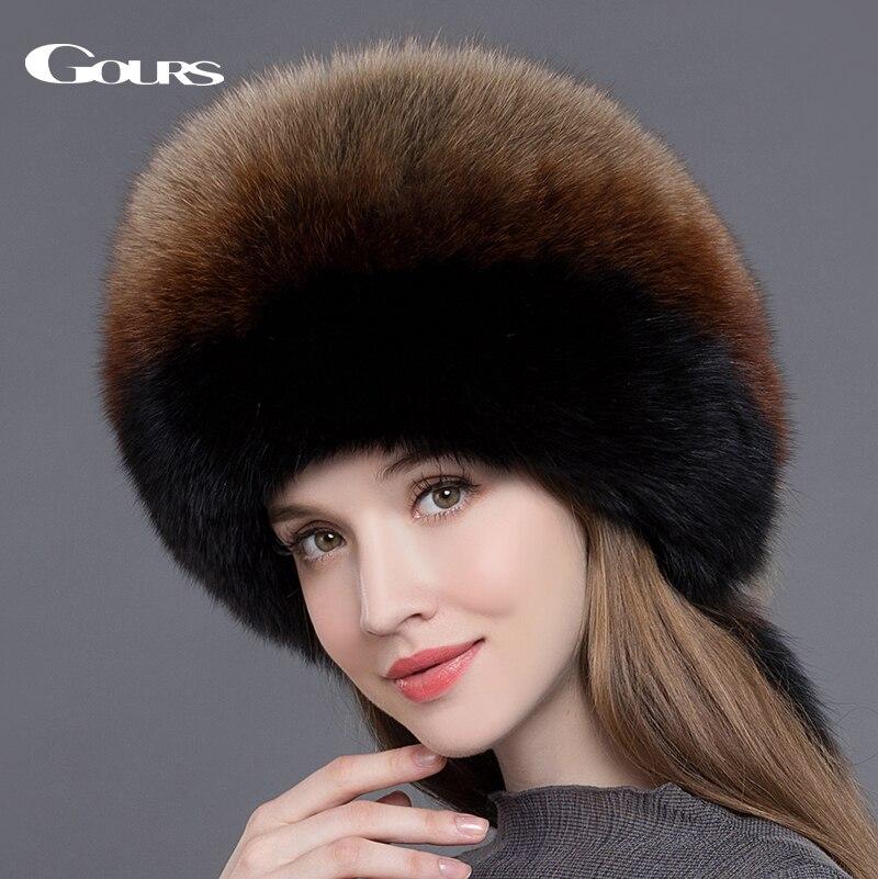 Gours меха Шапки для Для женщин натуральный Лисий мех шапочки русская зима толстые теплые уши Мода Бомер шапки новое поступление