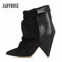 Jady Rose Black Sexy Ankle Boots for Women Spike High Heel Boots Genuine Leather Autumn Winter Botas Mujer Wedge Shoes Woman