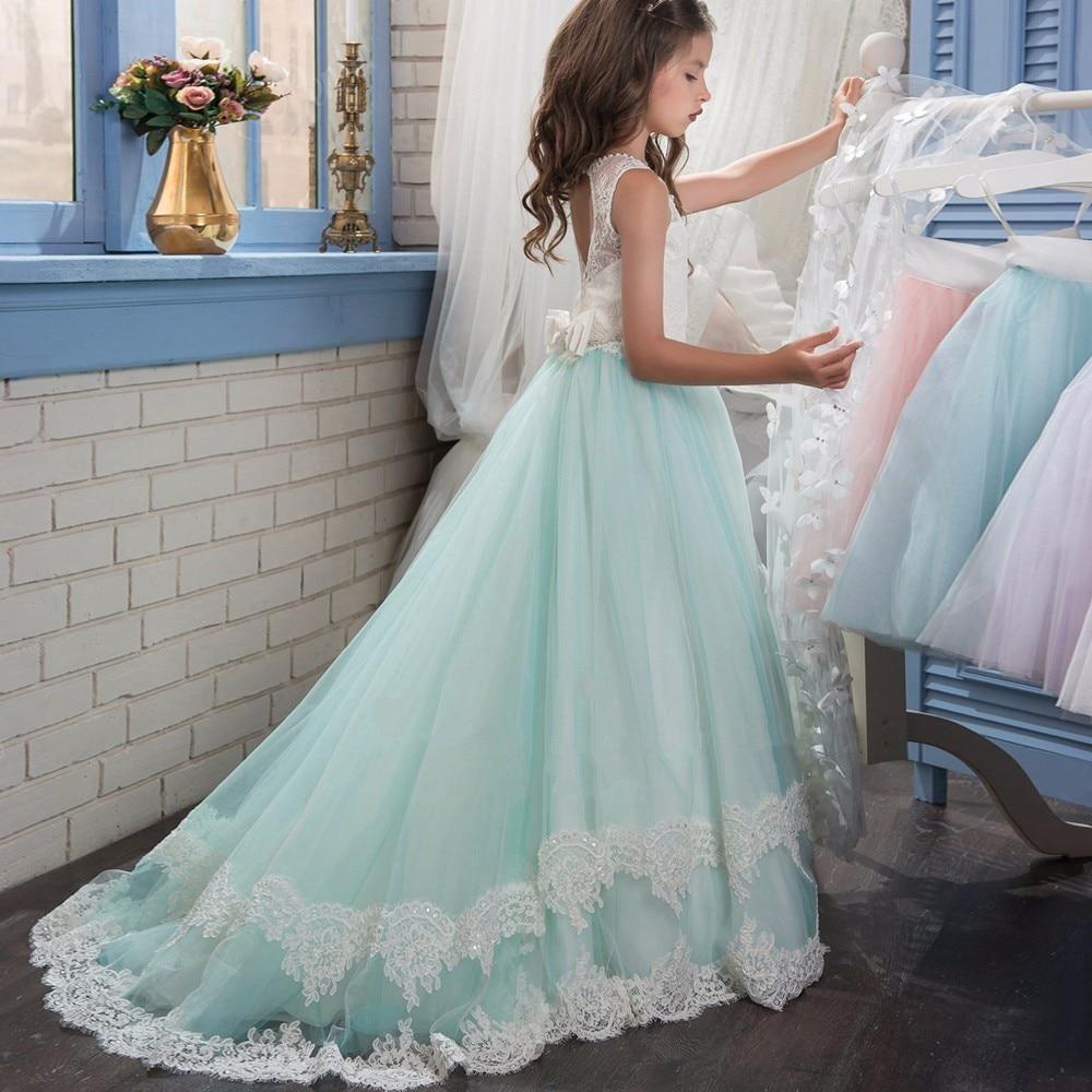 2017 Romantic Beaded Flower Girl Dress for Weddings Long Trailing ...