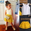 2016 Sets Meninas Do Miúdo Do Bebê Sem Mangas Gola Redonda Top + Saias de Renda Amarela 2 Pcs Terno Meninas Roupas Princesa meninas conjuntos de roupas