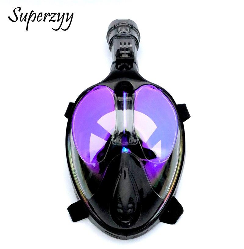 Alien professionnel masque de plongée sous-marine Anti-buée visage complet 180 degrés masque de plongée en apnée ensemble avec anneau anti-dérapant