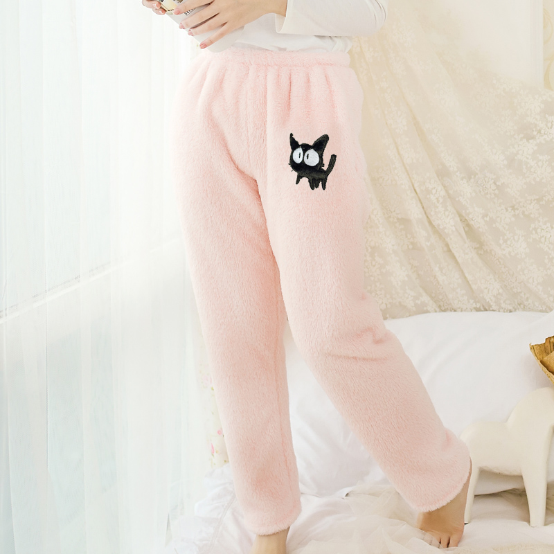 Autumn and winter female thicken fleece sleep pants plus size home casual cartoon patch lounge pants 2