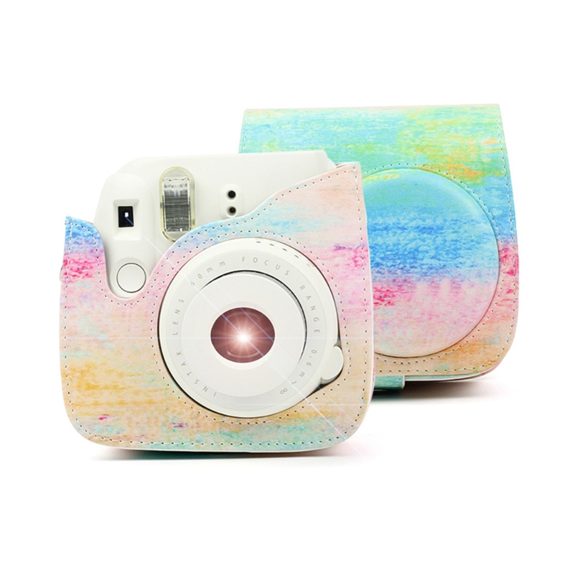 For Fujifilm Instax Mini 9 8 8+ Case Camera Artist Oil Paint PU Leather Instant Camera Shoulder Bag Protector Cover Case Pouch