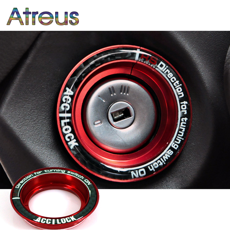 1X Luminous/Carbon Fiber Car Ignition Switch Decoration Stickers For Ford Focus 2 3 MK2  ...