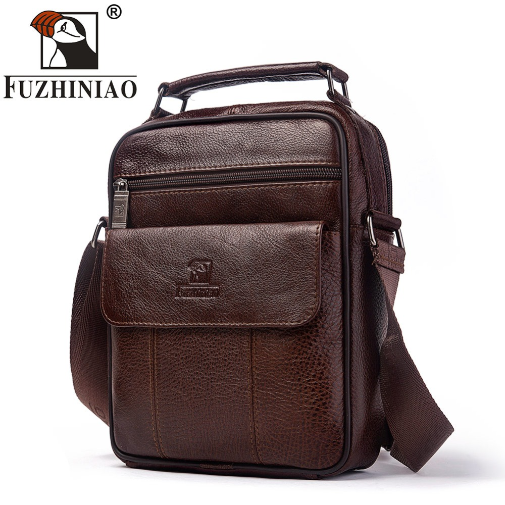 FUZHINIAO Fashion Designer High Quality Genuine Leather Men Shoulder Bag Casual Zipper Office Messenger Bags For Crossbody BagsFUZHINIAO Fashion Designer High Quality Genuine Leather Men Shoulder Bag Casual Zipper Office Messenger Bags For Crossbody Bags