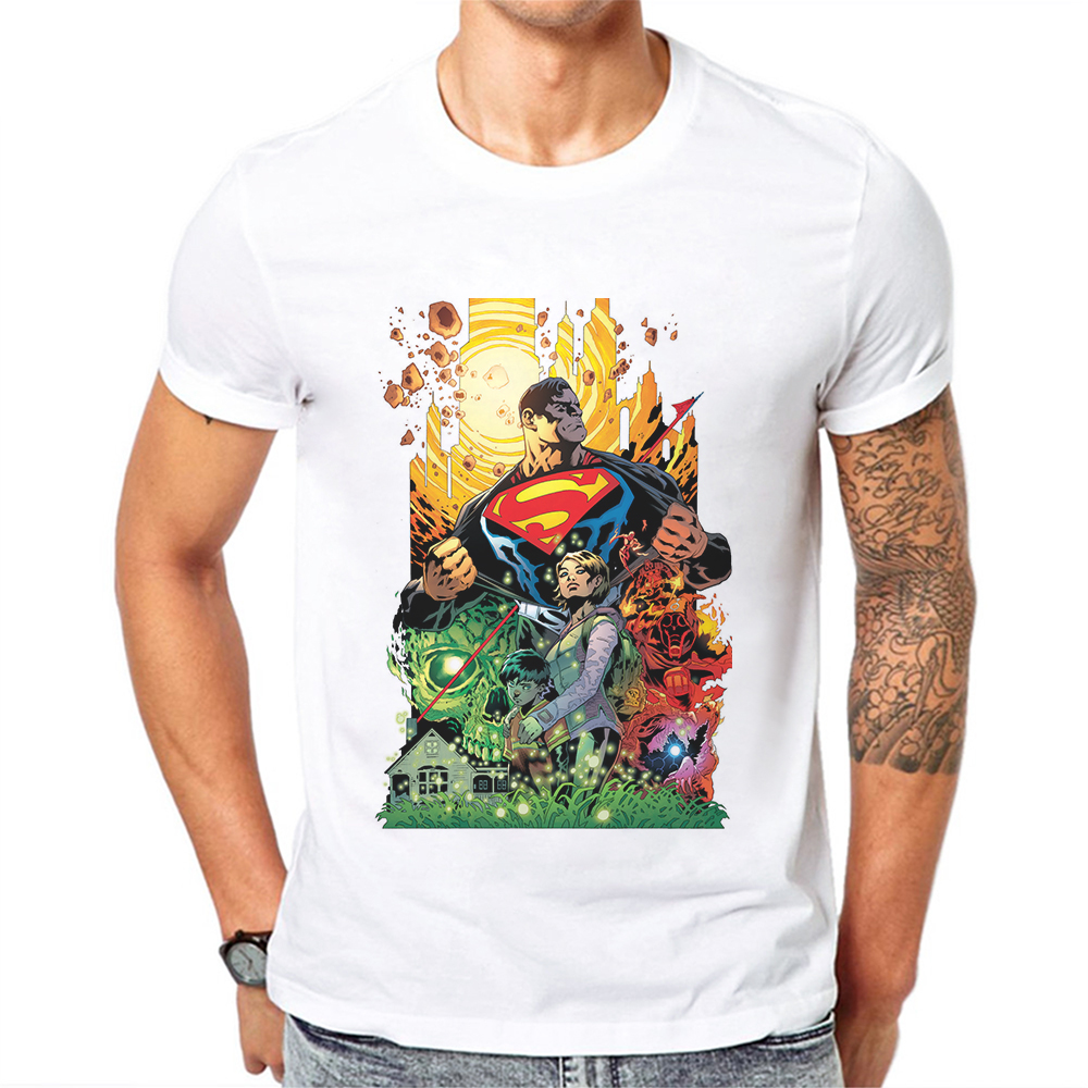 2019 New Funny Superman T Shirt Men Tee Cartoon Anime Printed Mens T-shirts Short Sleeve Cotton Tops Male Shirts Camiseta