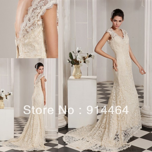 Champagne V Neck High Low Roman Style Arabic Bridal Lace 2017 New Wedding Dress One