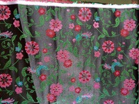 Chinese Traditional Silk Brocade Fabric Black Back With Green Leaf Plum Red Flowers Lake Blue Magpies