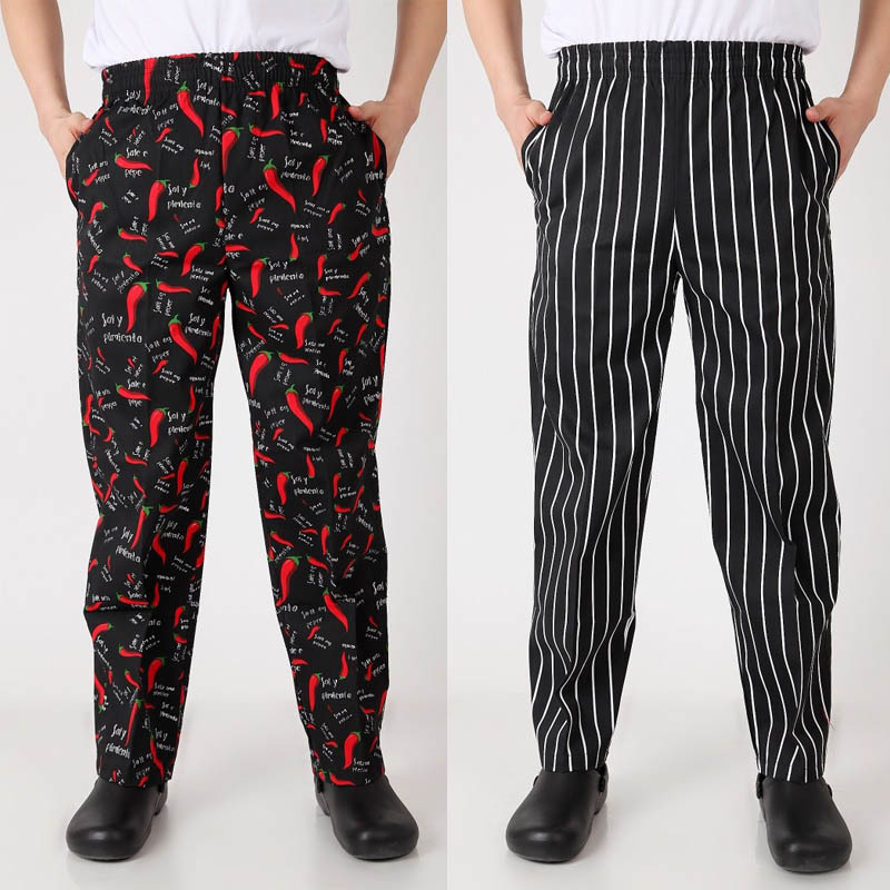 NEW Food Service  Chef Uniform Autumn Cook Pants Work Pants Checked Striped Chef Pants Unisex Chef Trousers