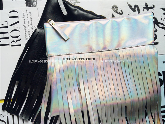 Designer 2C hologram clutch Leatherette bag Fashion Purse with tassel Runway bag Free shipping