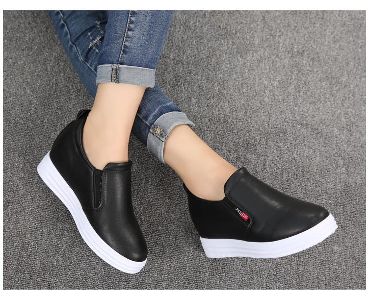 Wedge Leather Casual Shoes Woman Platform Shoes 2017 Spring New Simple Height Increasing Women Shoes Round Toe Ladies Shoes ZD48 (26)