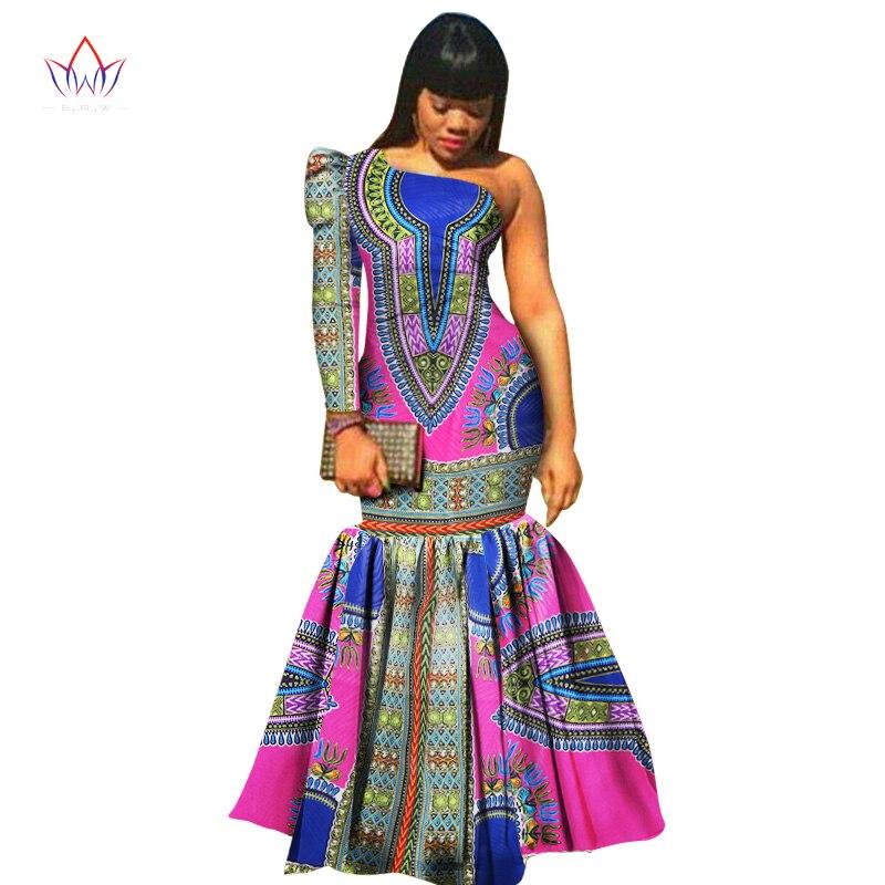 Africké oblečení pro ženy Dashiki Vestidos Africké bazény Riche šaty pro ženy Bavlněná tisková mořská panna dlouhé šaty WY346