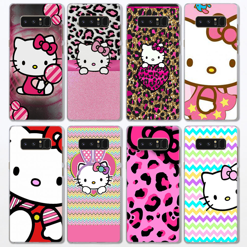 Pink Hello Kitty Cat Pattern Clear Frame Hard Back Case