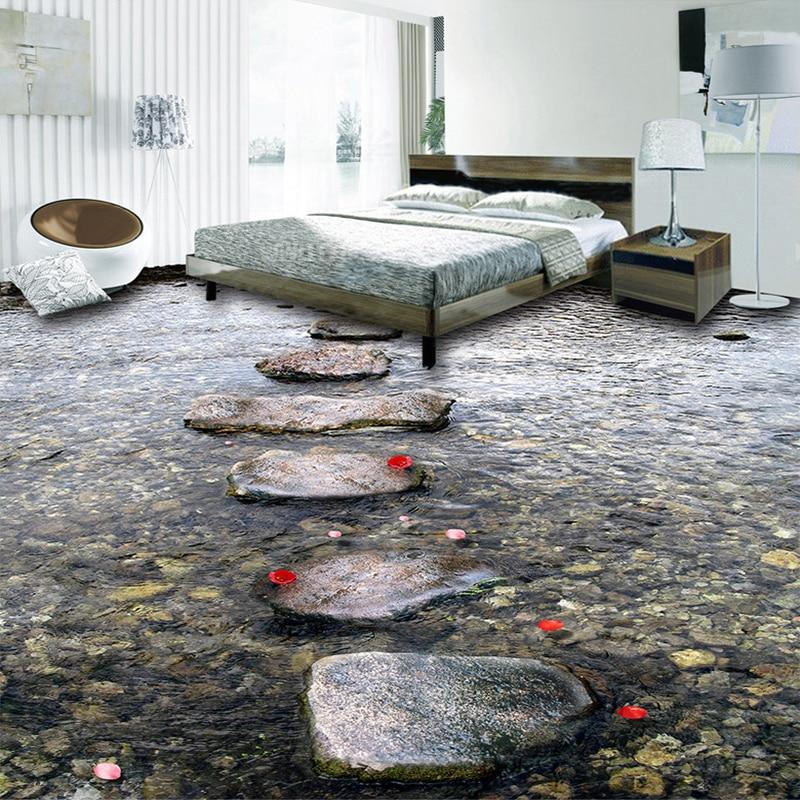 Custom Flooring Murals Stone Road Creek Water 3d Floor
