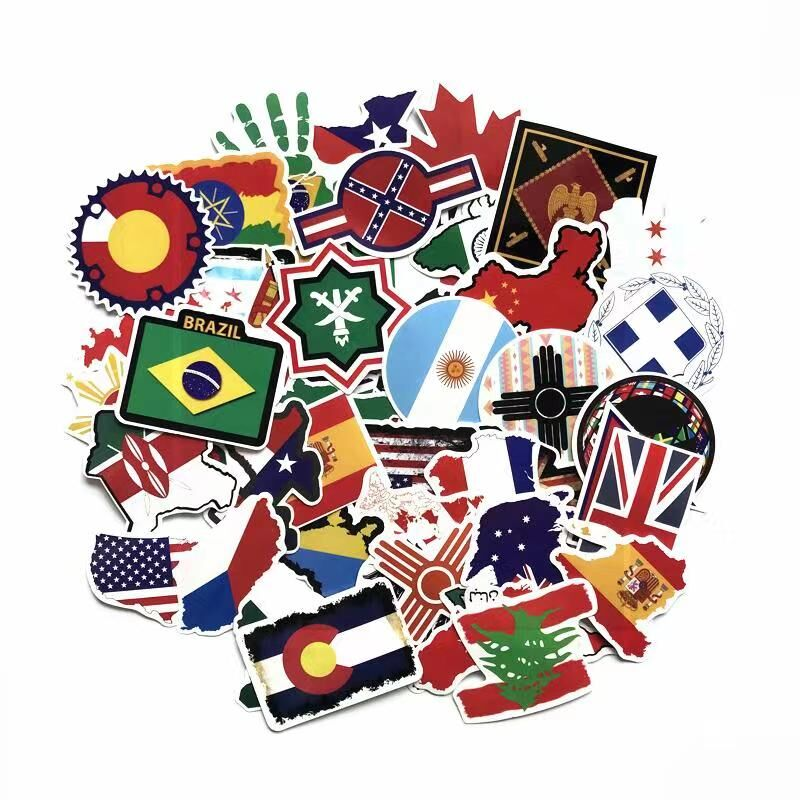 TD ZW 52 Pcs/Lot Waterproof National Flags Sticker For Laptop Trunk Skateboard Guitar Computer Bicycle Decal Popular Toy Sticker